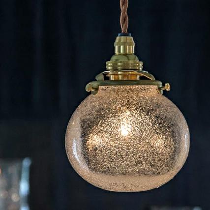 安土草多の吹きガラスペンダントライト 角球 泡