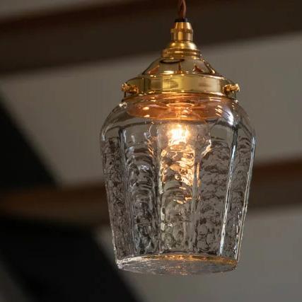 安土草多の吹きガラスペンダントライト十二角瓶 真鍮金具