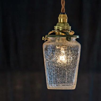 安土草多の吹きガラスペンダントライト八角瓶 泡