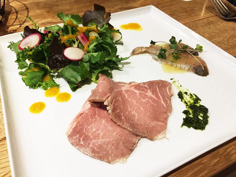豚肩ロースハム、尾道サラダ、カルパッチョ